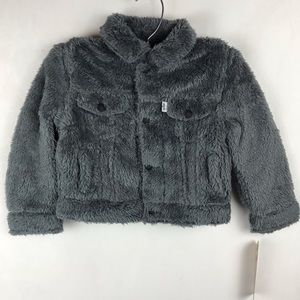 Levi Faux Sherpa Baby Boy Jacket Grey